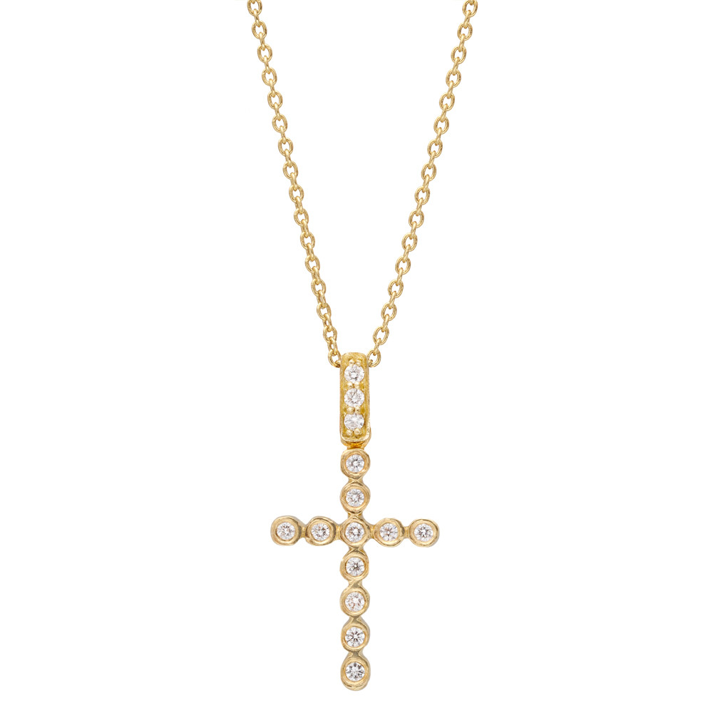Small 18k Yellow Gold & Diamond Cross Pendant