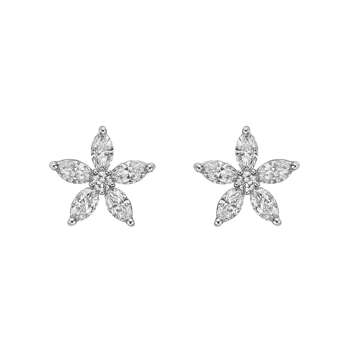 Small Diamond Flower Cluster Stud Earrings