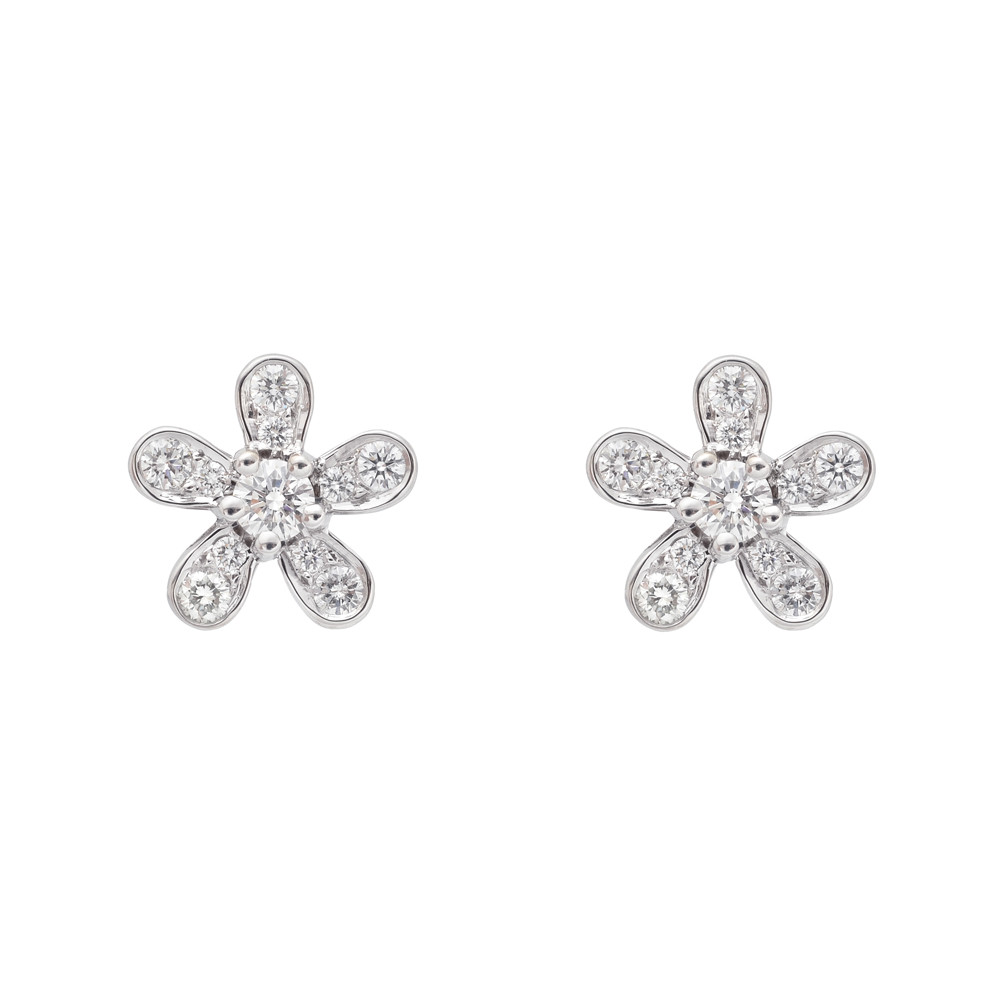 Small 18k White Gold & Diamond Flower Earstuds
