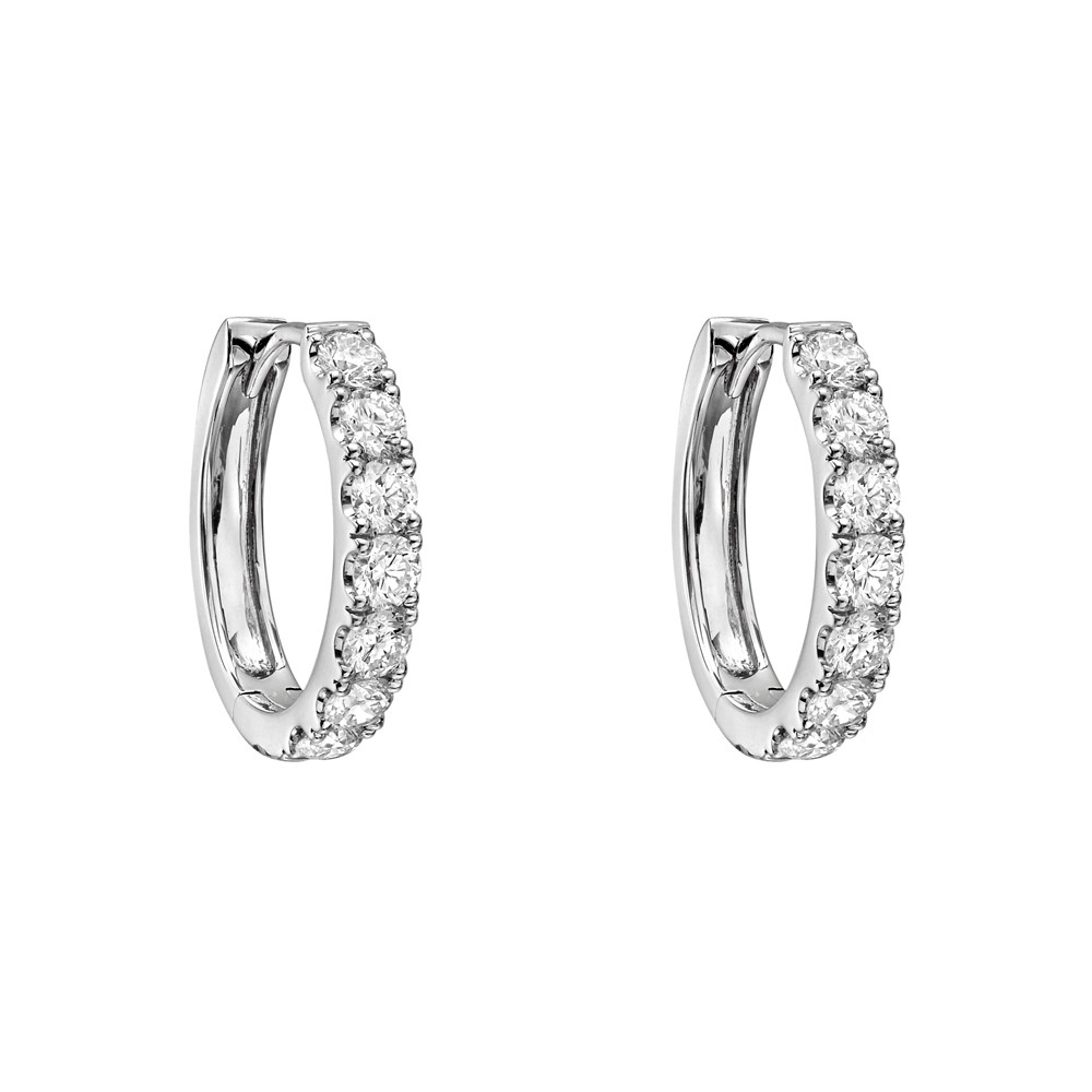 Small Diamond Hoop Earrings (~1.15 ct tw)