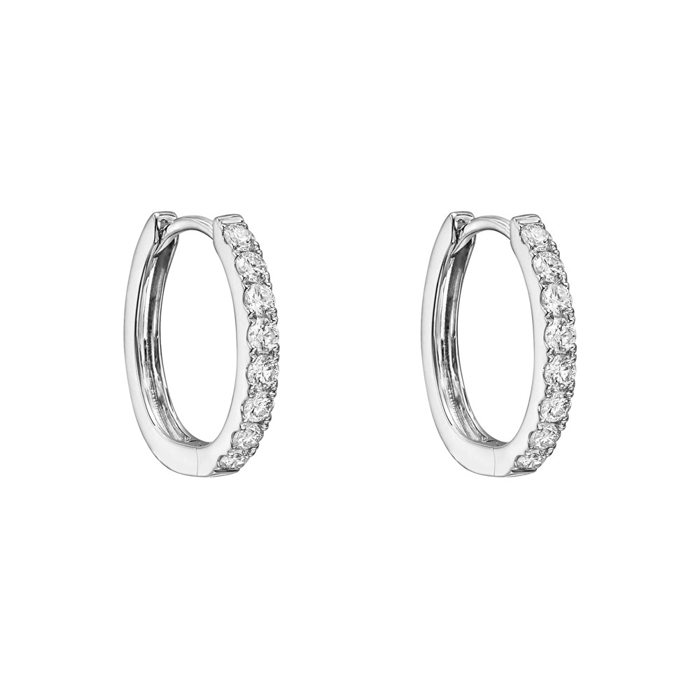 Small Diamond Hoop Earrings 0 4 Ct Tw