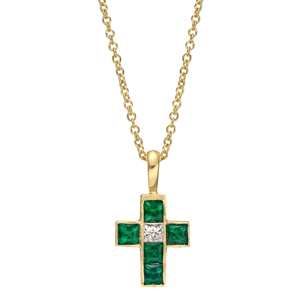 Small 18k Gold, Emerald & Diamond Cross Pendant