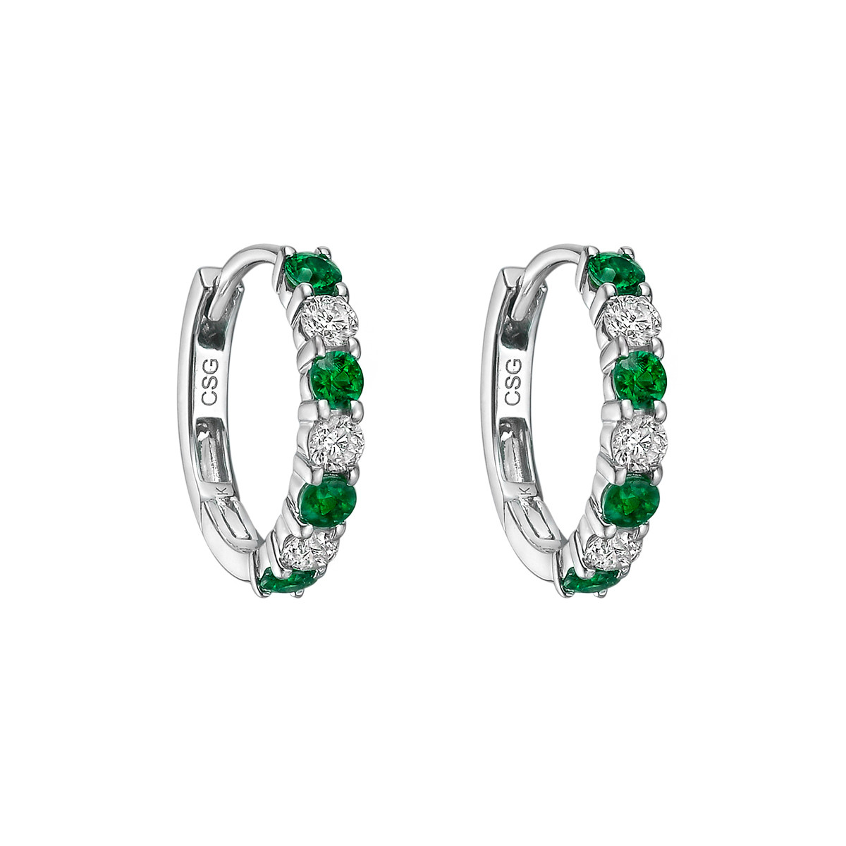 Small Emerald & Diamond Hoop Earrings