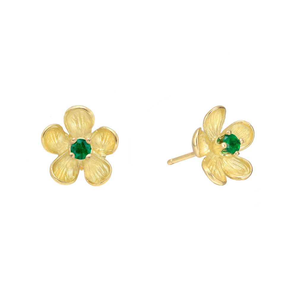 Small 18k Yellow Gold & Emerald Flower Earstuds