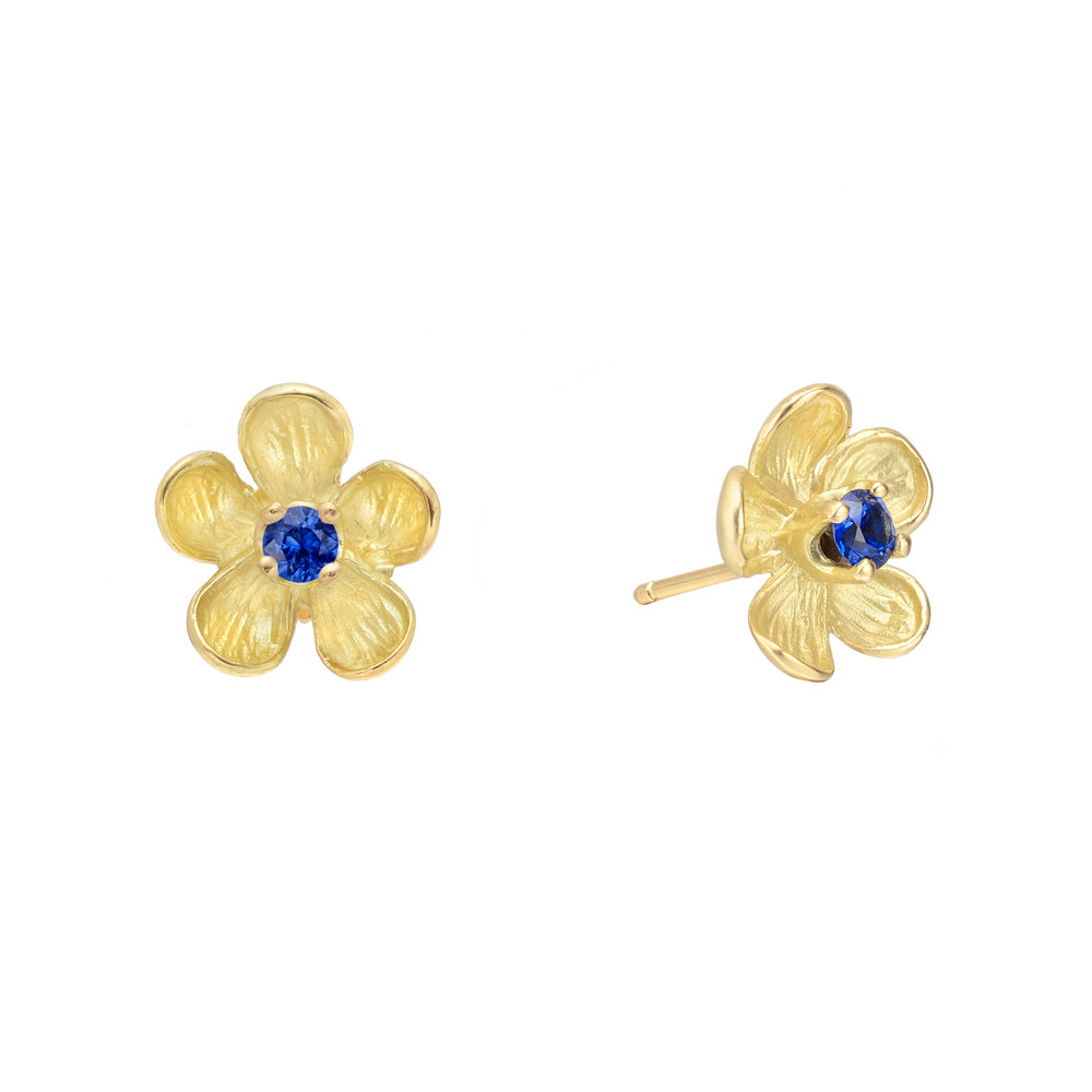 Small 18k Yellow Gold & Sapphire Flower Earstuds
