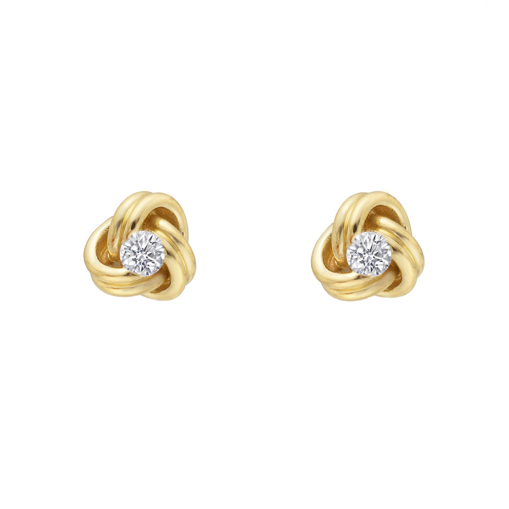 Small 18k Yellow Gold & Diamond Knot Earstuds