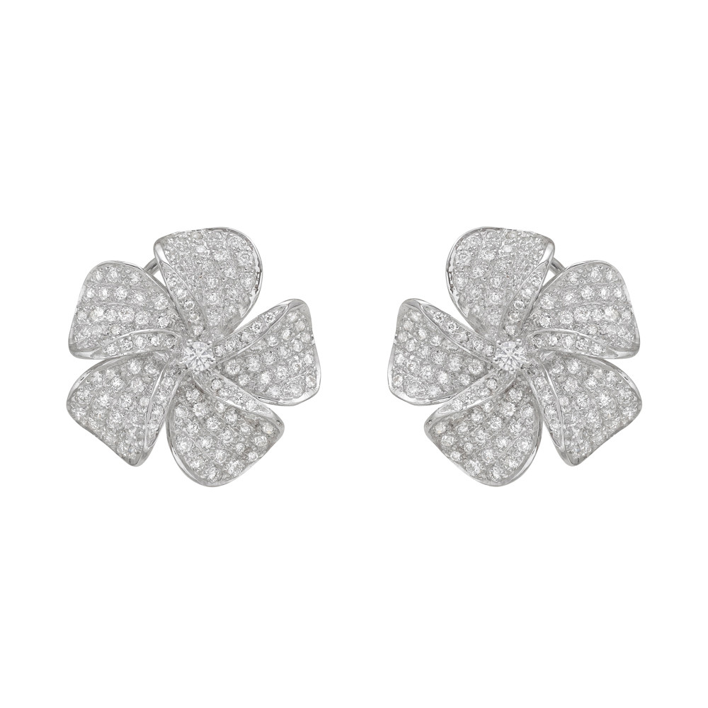 Pavé Diamond Flower Earclips