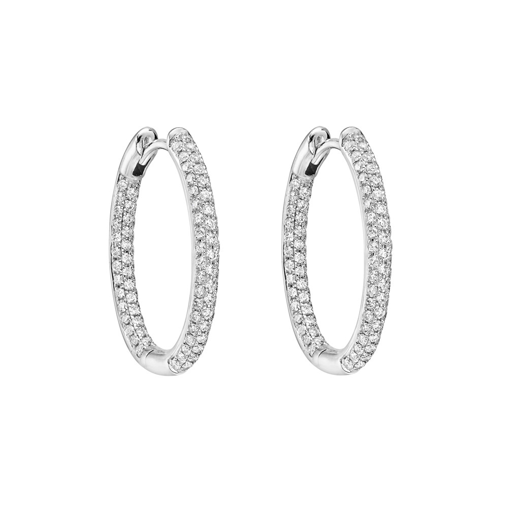 Small Pavé Diamond Hoop Earrings (~0.75 ct tw)