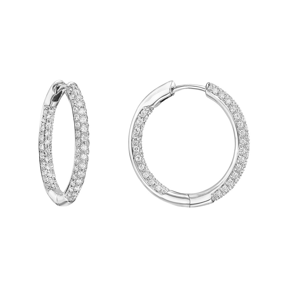 Small Pavé Diamond Hoop Earrings (~0.6 ct tw)