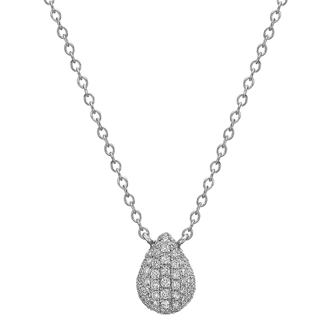 Small Pavé Diamond Pear-Shaped Pendant