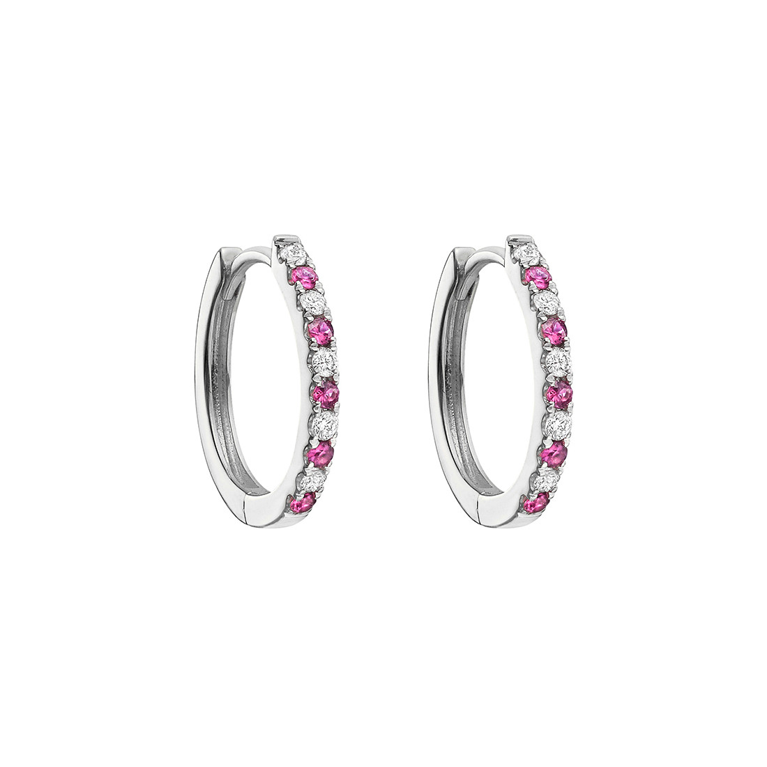 Small Pink Sapphire & Diamond Hoop Earrings