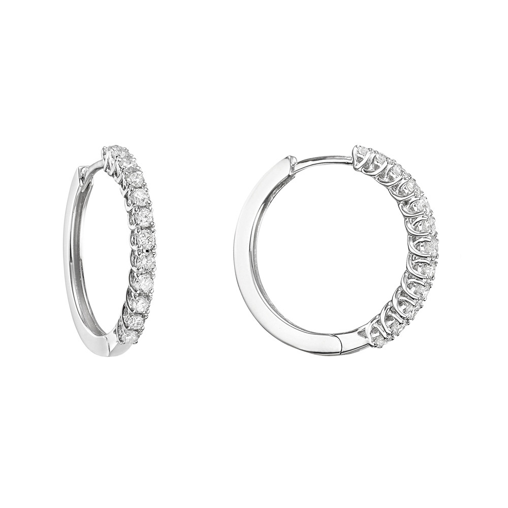 Small Diamond Hoop Earrings (~0.45 ct tw)
