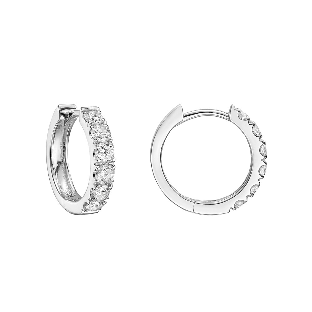 Small Diamond Hoop Earrings (~1 ct tw)