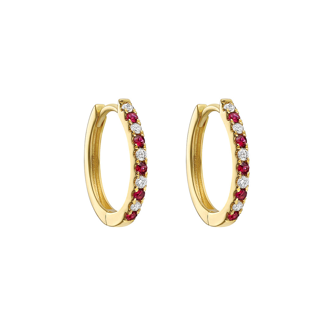 Circular Shaped Hoop Earrings Showcasing Round Rubies Alternating With Diamonds G Set To The Front Of High Polished 18k Yellow Gold