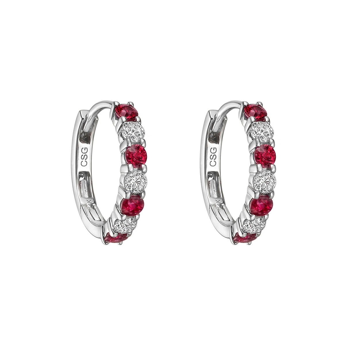 Small Ruby & Diamond Hoop Earrings