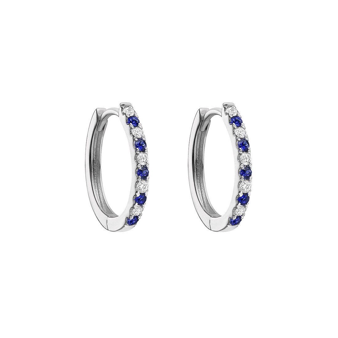 Small Blue Sapphire & Diamond Hoop Earrings