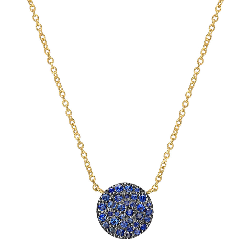 Small 18k Yellow Gold & Sapphire Circle Pendant