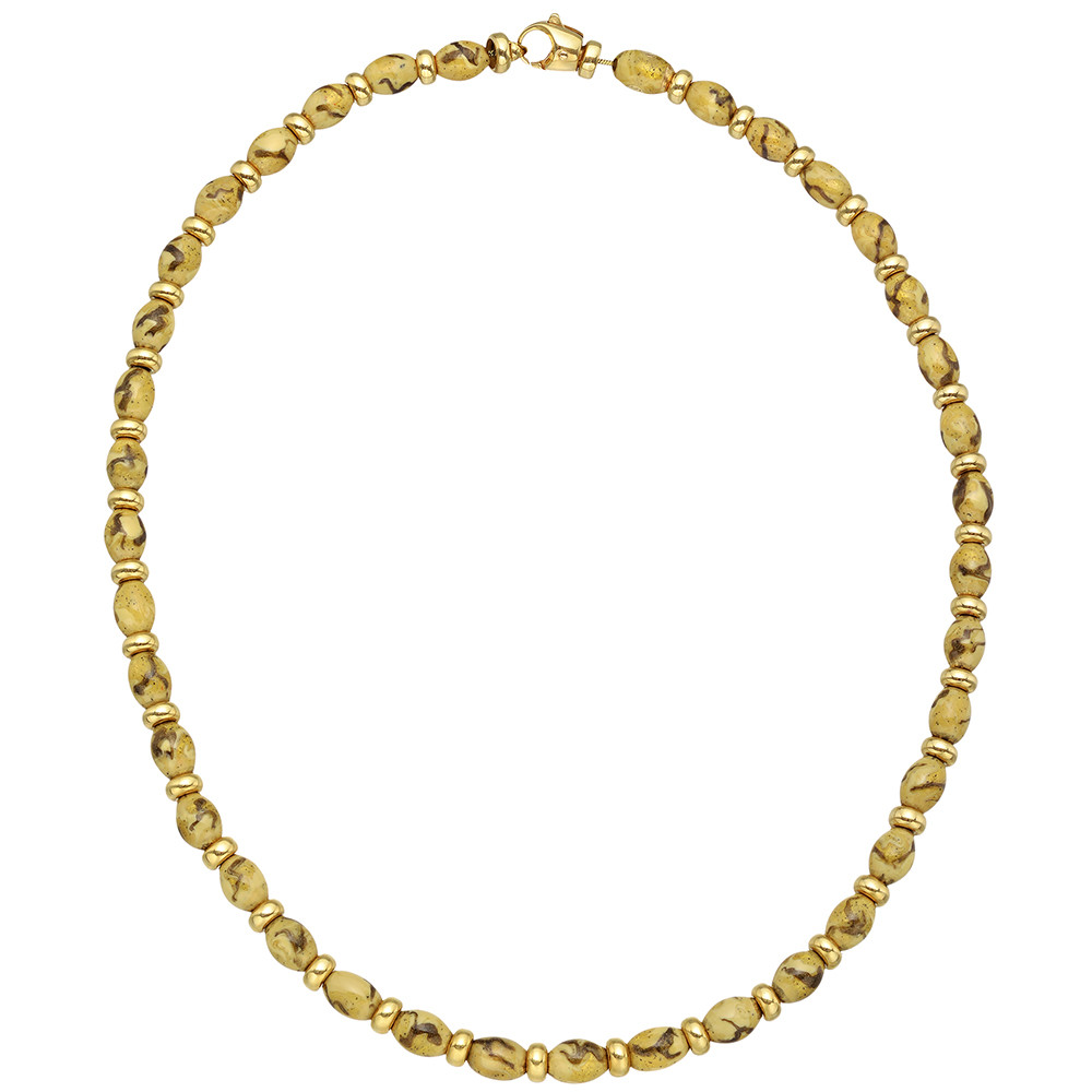 SOHO Brown Enamel & 18k Gold Bead Necklace