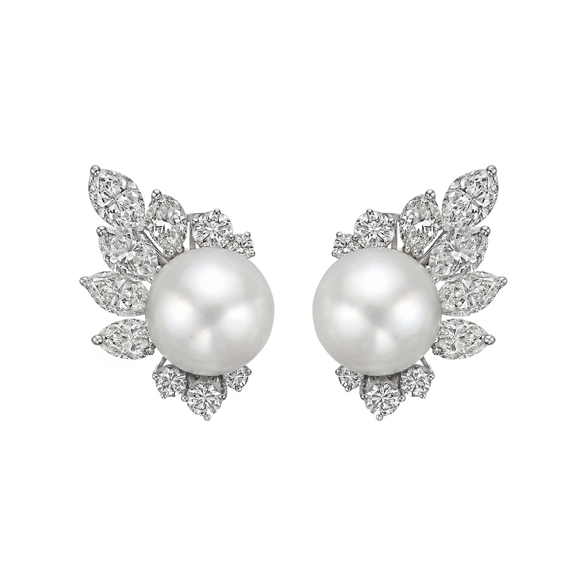 South Sea Pearl & Diamond Cluster Earrings