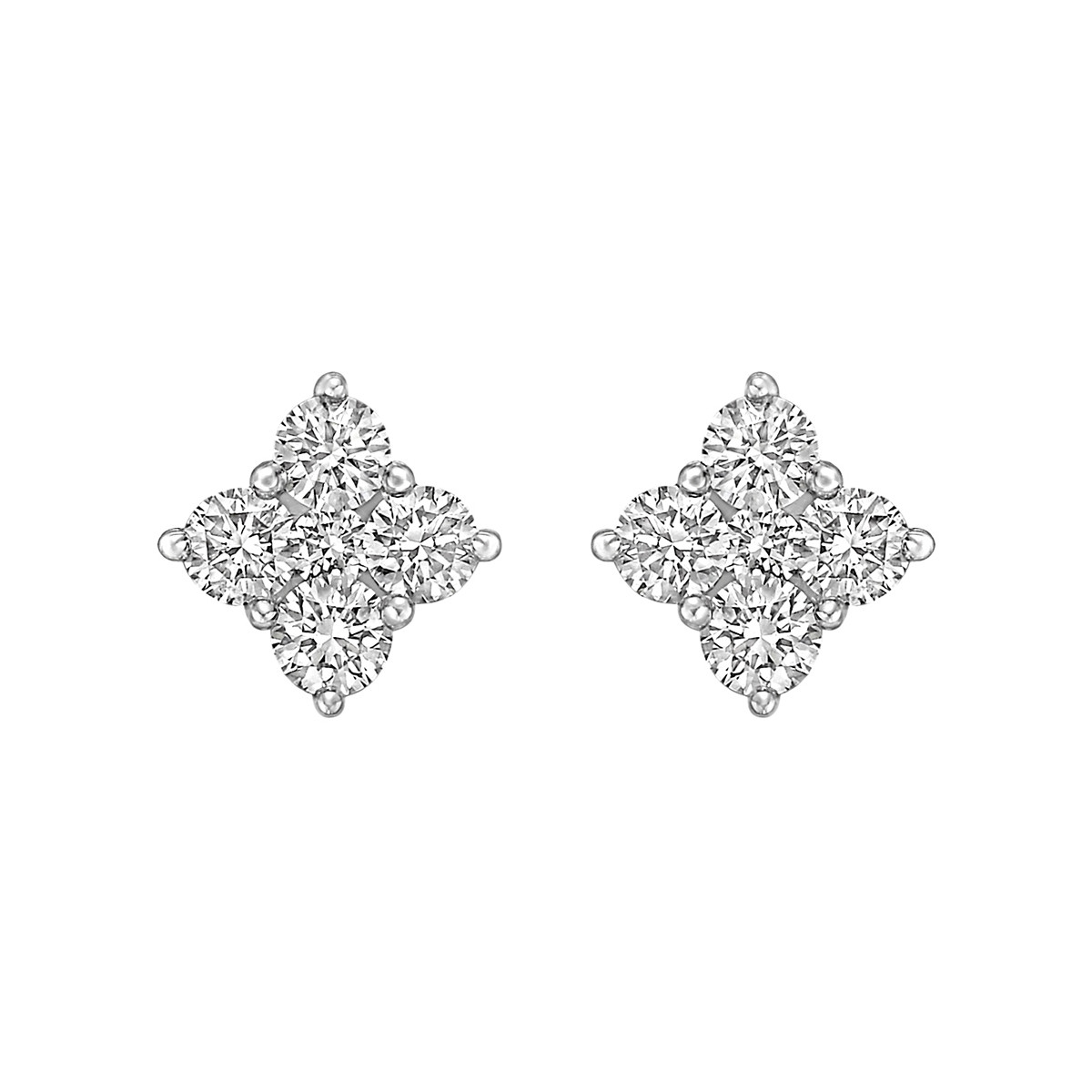Square-Shaped Diamond Cluster Earstuds