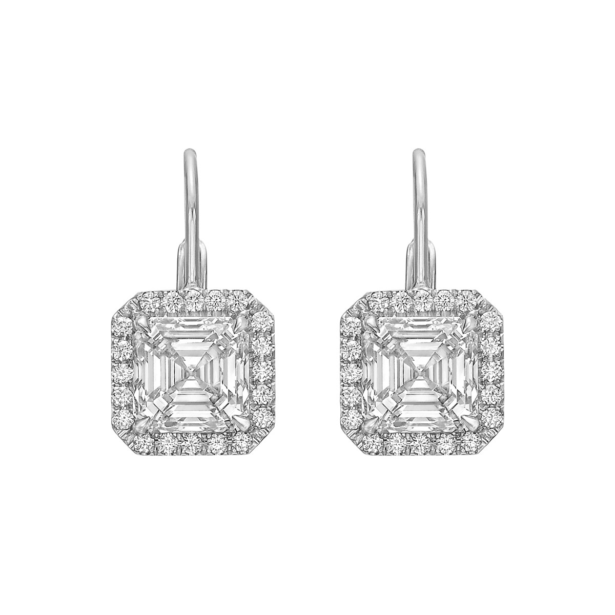 Square Emerald-Cut Diamond Halo Drop Earrings (4.35 ct tw)