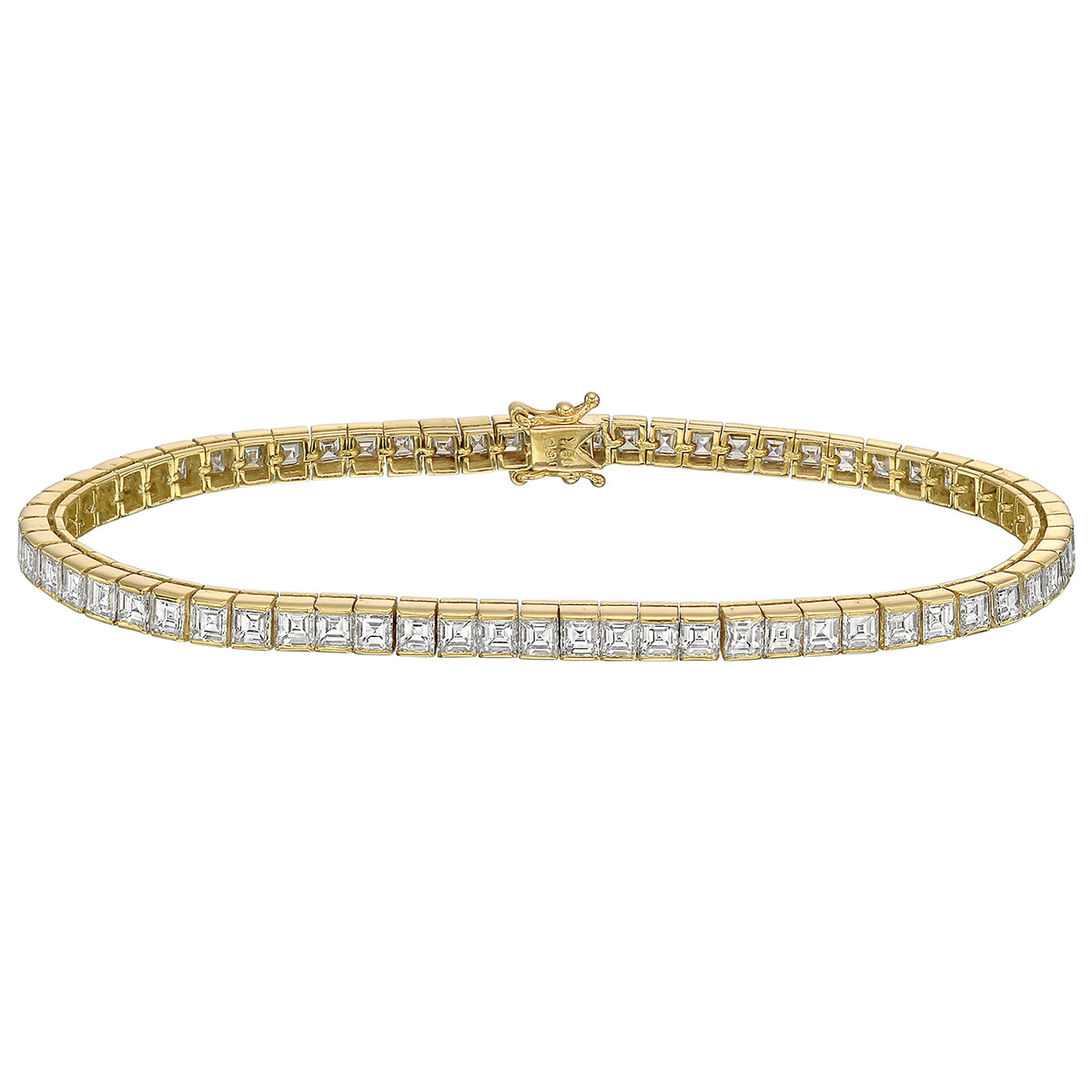 Square Emerald-Cut Diamond Line Bracelet (~6 ct tw)
