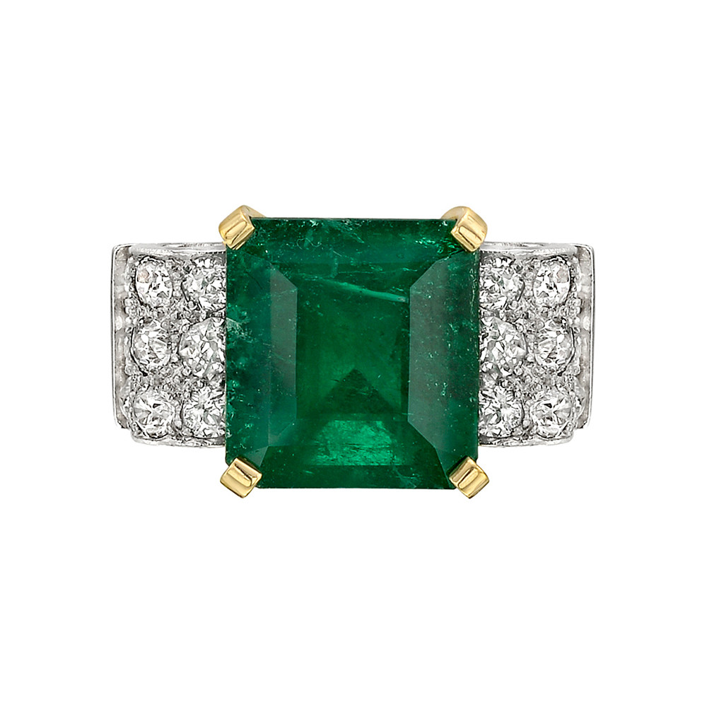 5.43 Carat Colombian Emerald & Diamond Ring