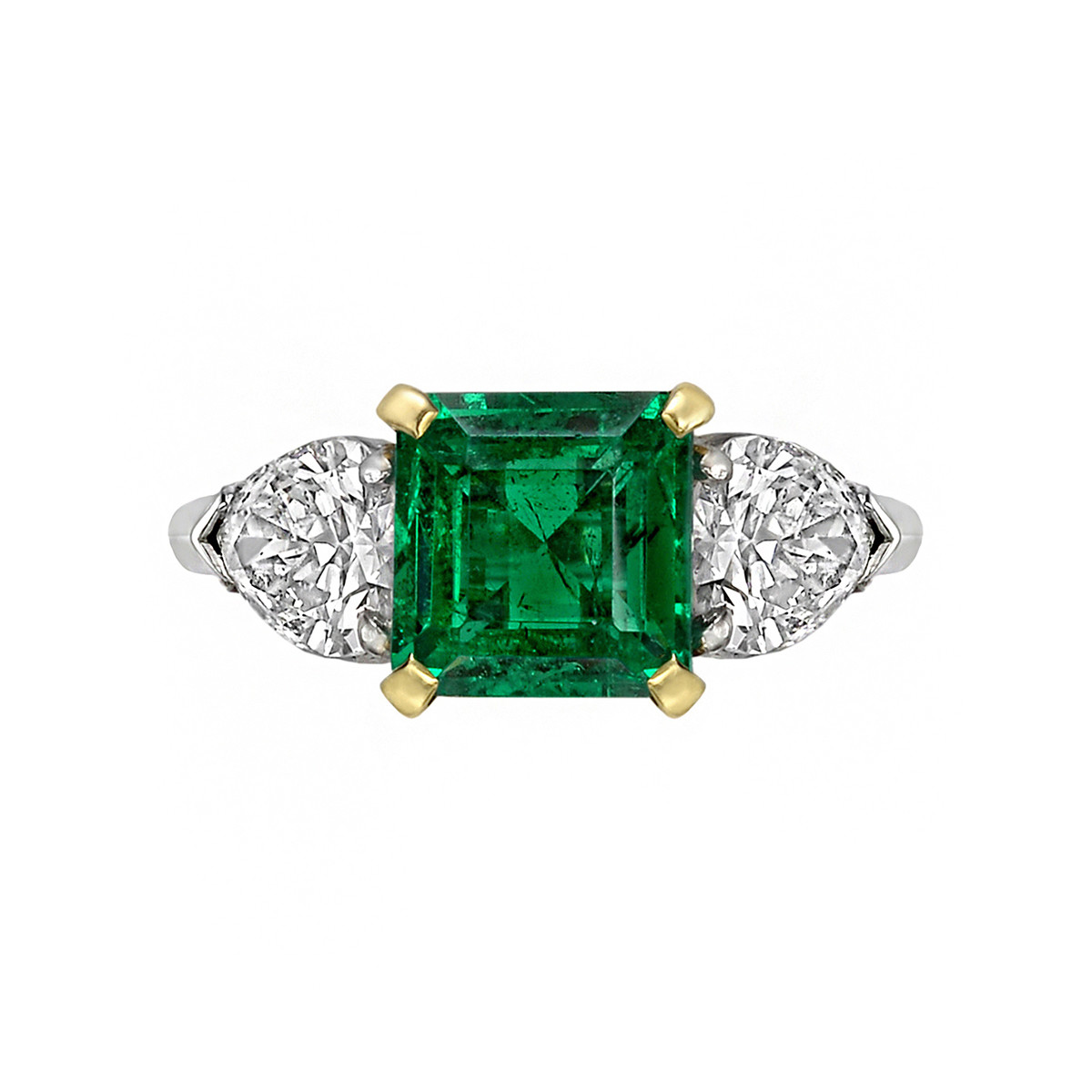 1.35ct Emerald & Diamond Three-Stone Ring