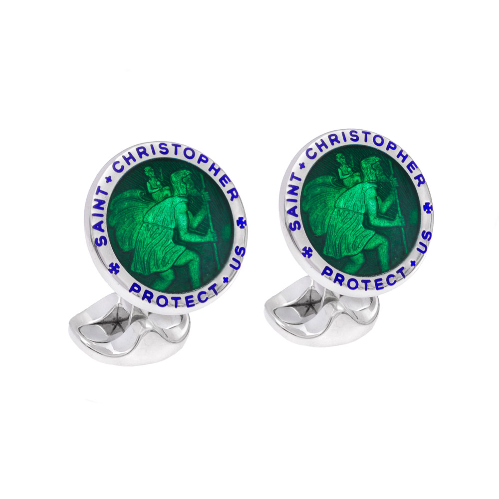 Silver St. Christopher Cufflinks with Dark Green Enamel