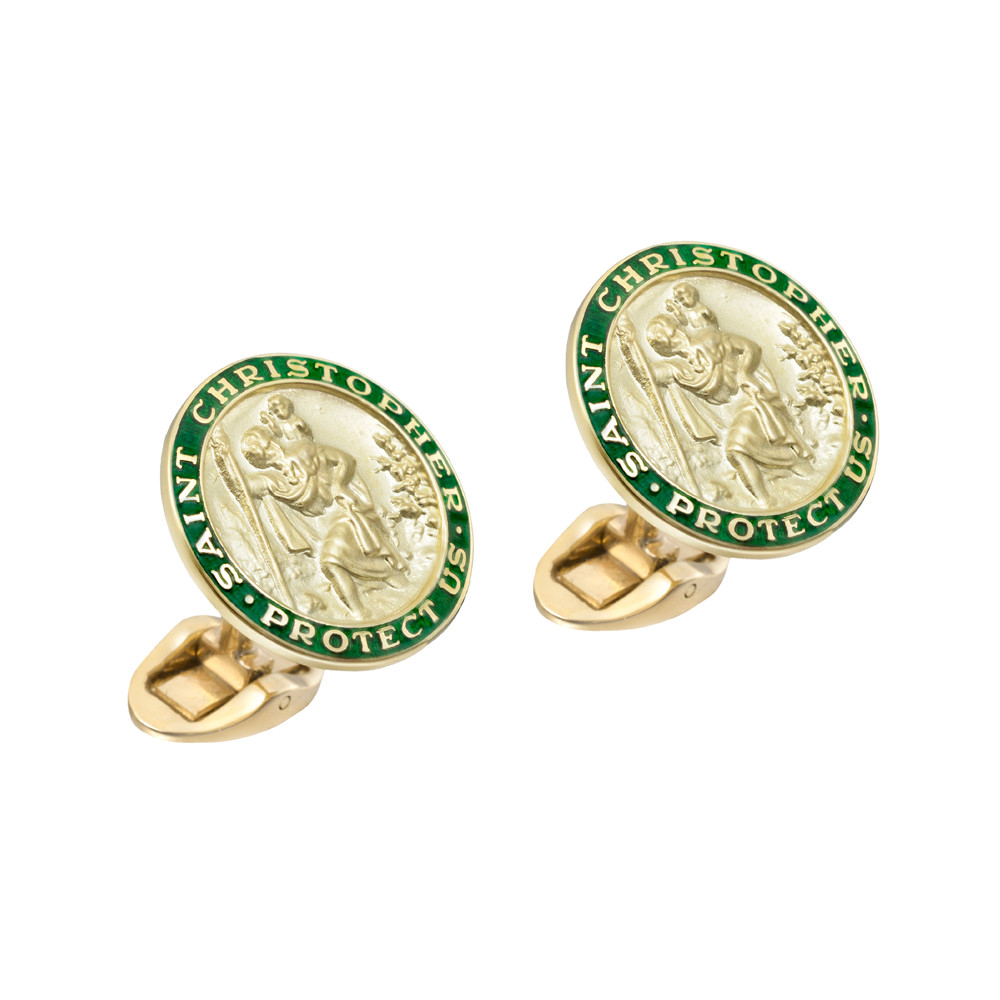 14k Gold St. Christopher Cufflinks with Green Enamel