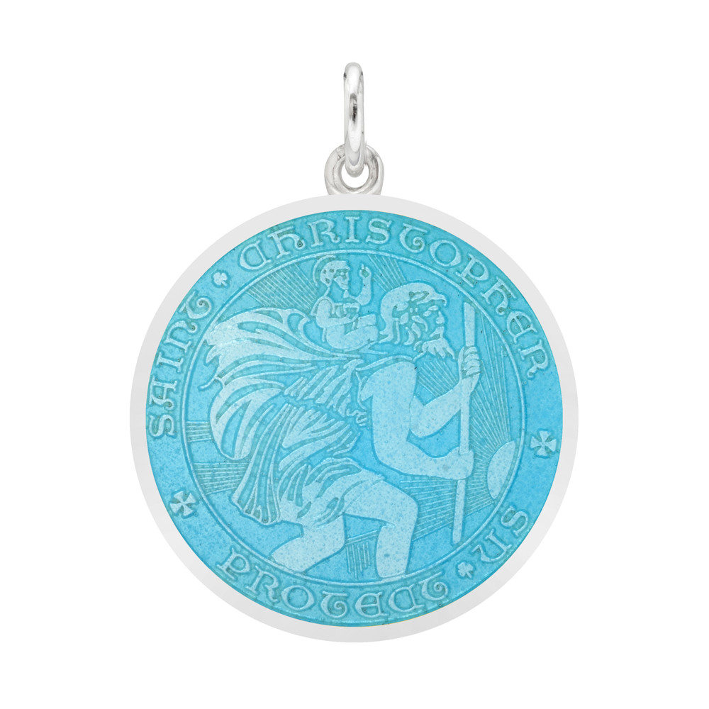 Medium Silver St. Christopher Medal with Light Blue Enamel