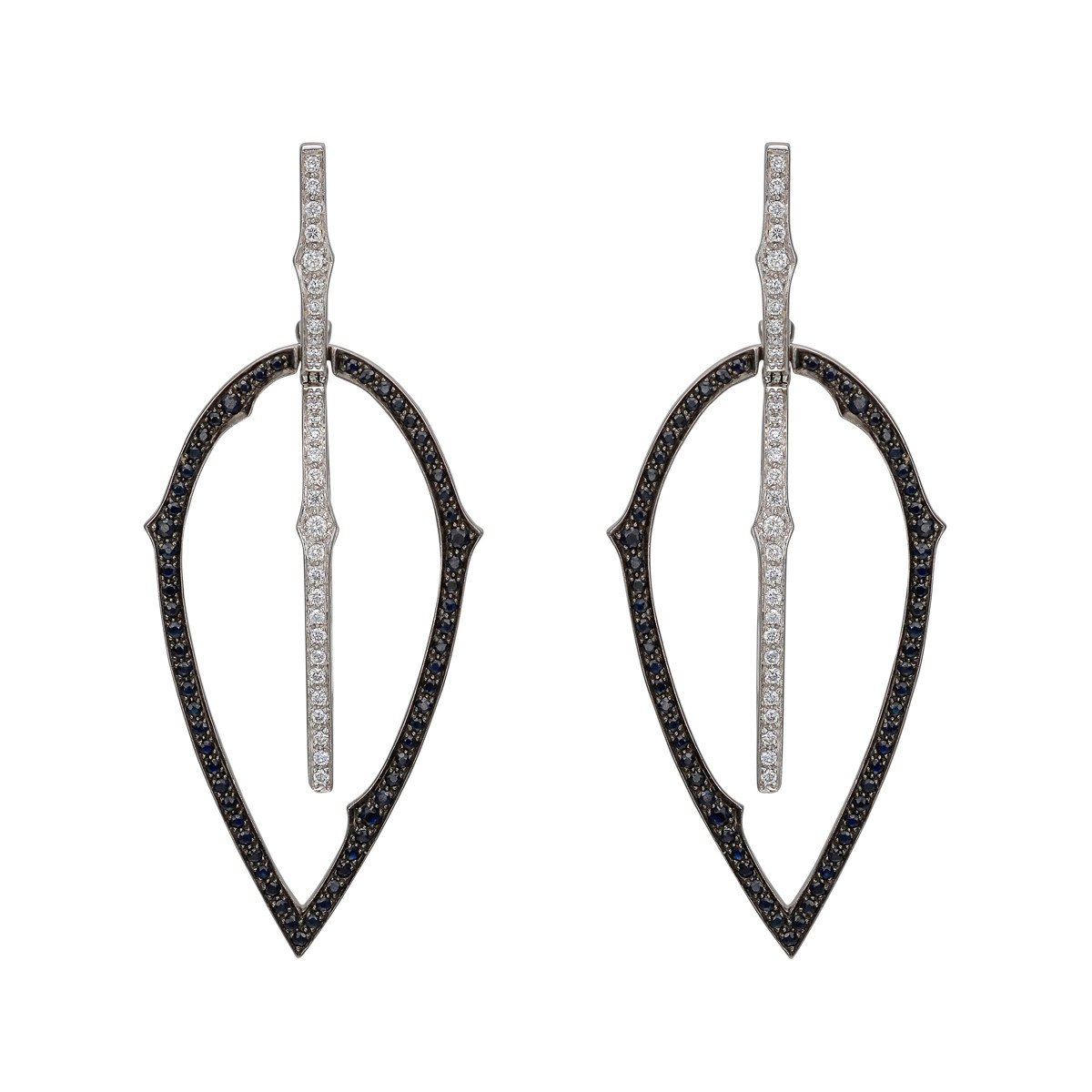 Black & White Diamond 'Thorn' Drop Earrings