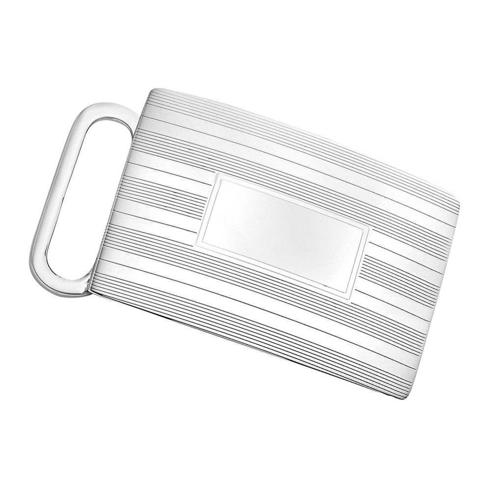 Silver Engine-Turned Slide Belt Buckle