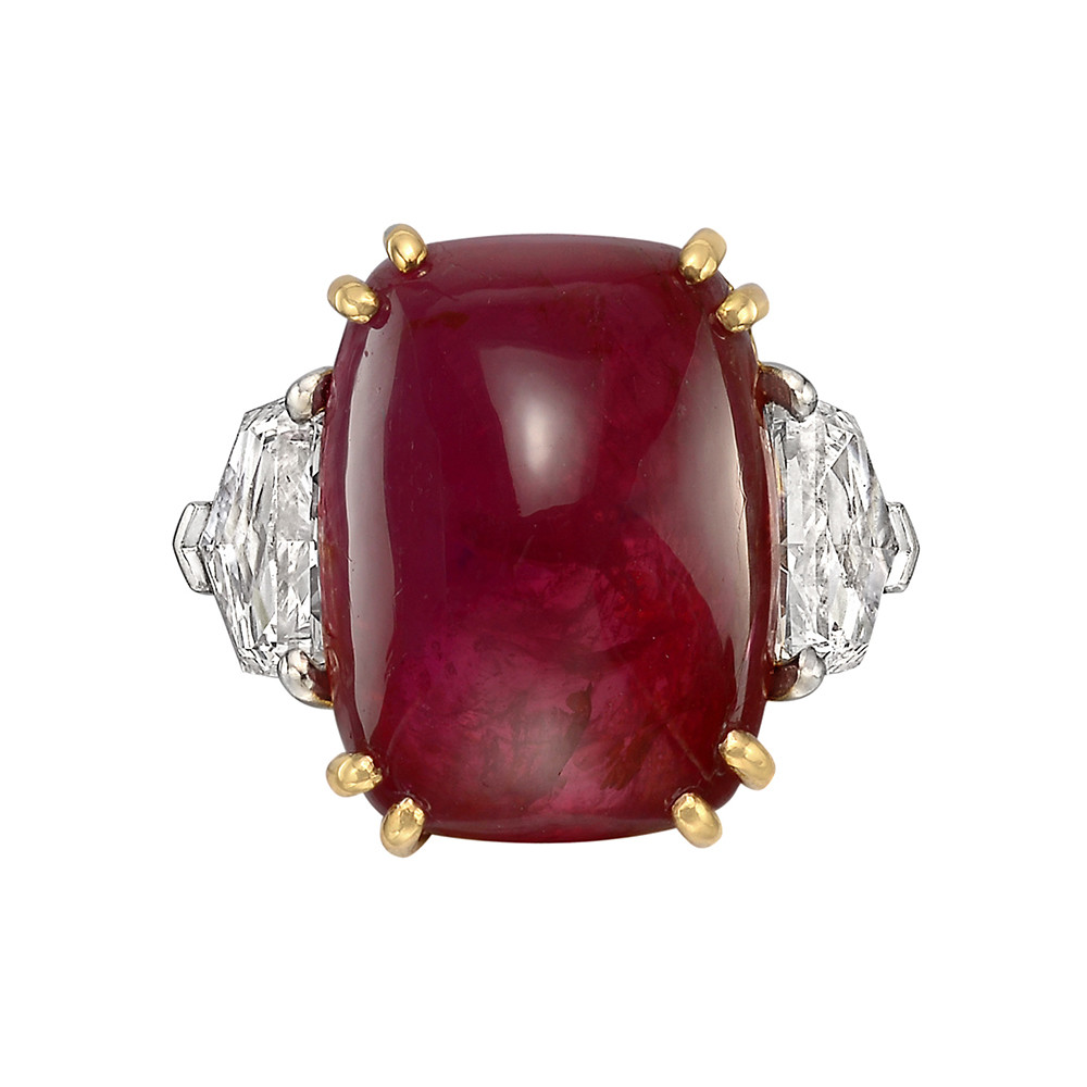 15.15 Carat Sugarloaf Cabochon Ruby & Diamond Ring