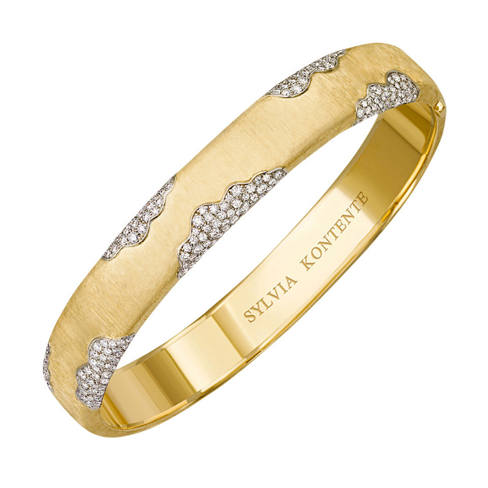 18k Yellow Gold & Diamond 'Wave' Bangle