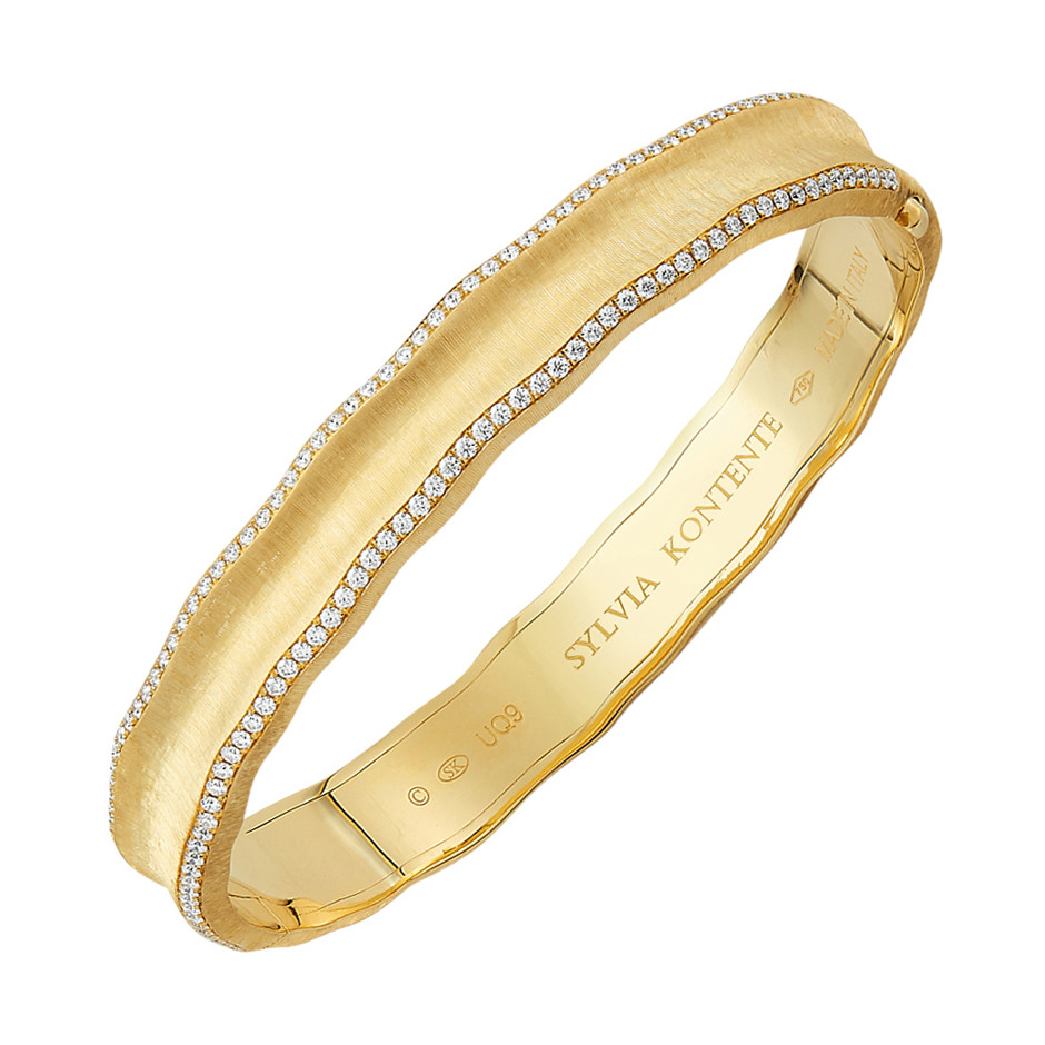 18k Yellow Gold & Diamond 'Curves' Bangle