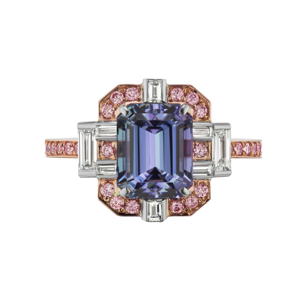 Tanzanite & Pink Diamond Ring