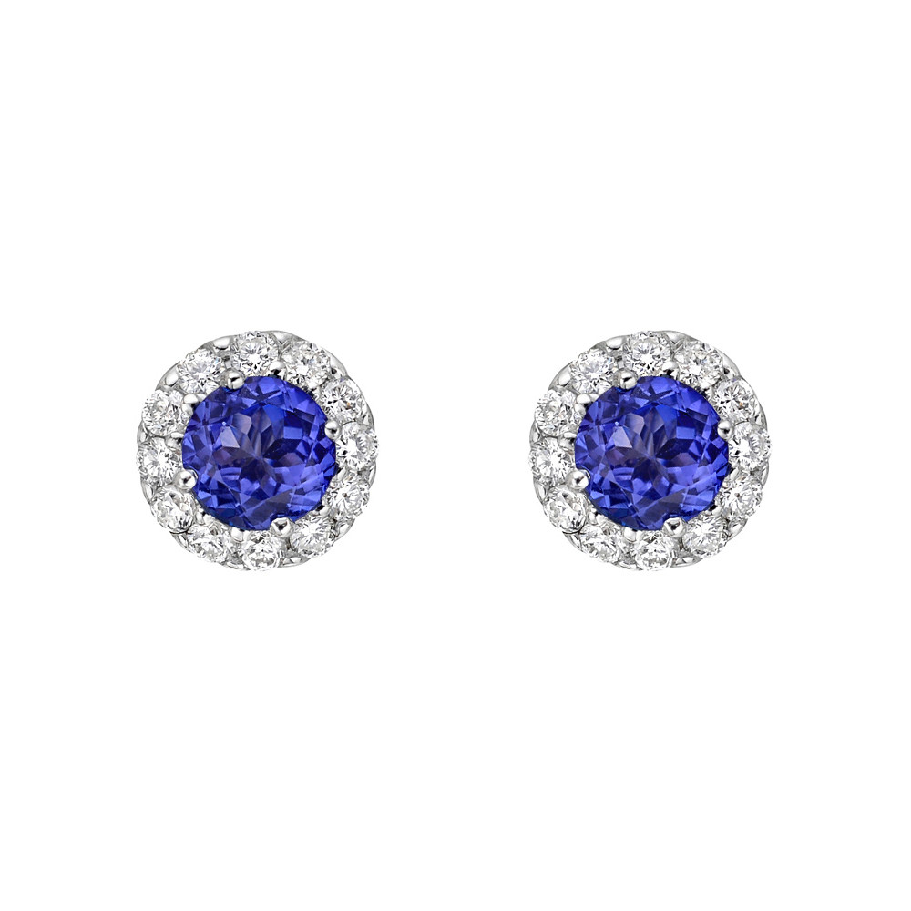 Tanzanite & Diamond Halo Earstuds