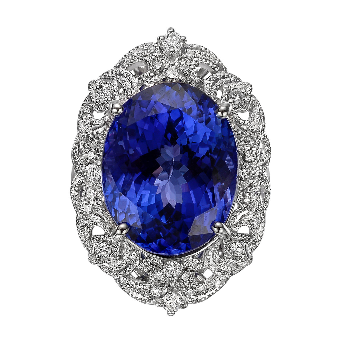 18.03 Carat Tanzanite & Diamond Cocktail Ring