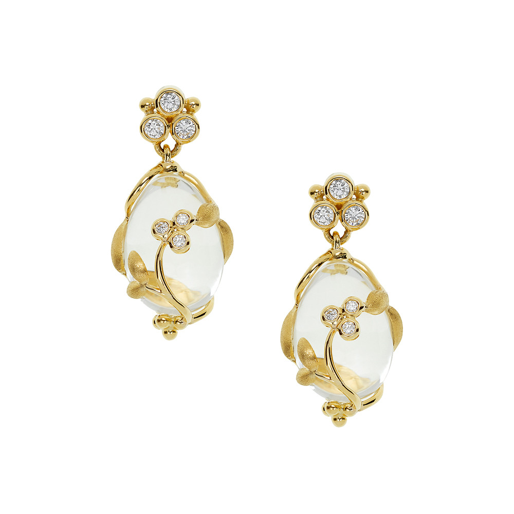 "​Rock Crystal & Diamond ""Vine"" Drop Earrings"