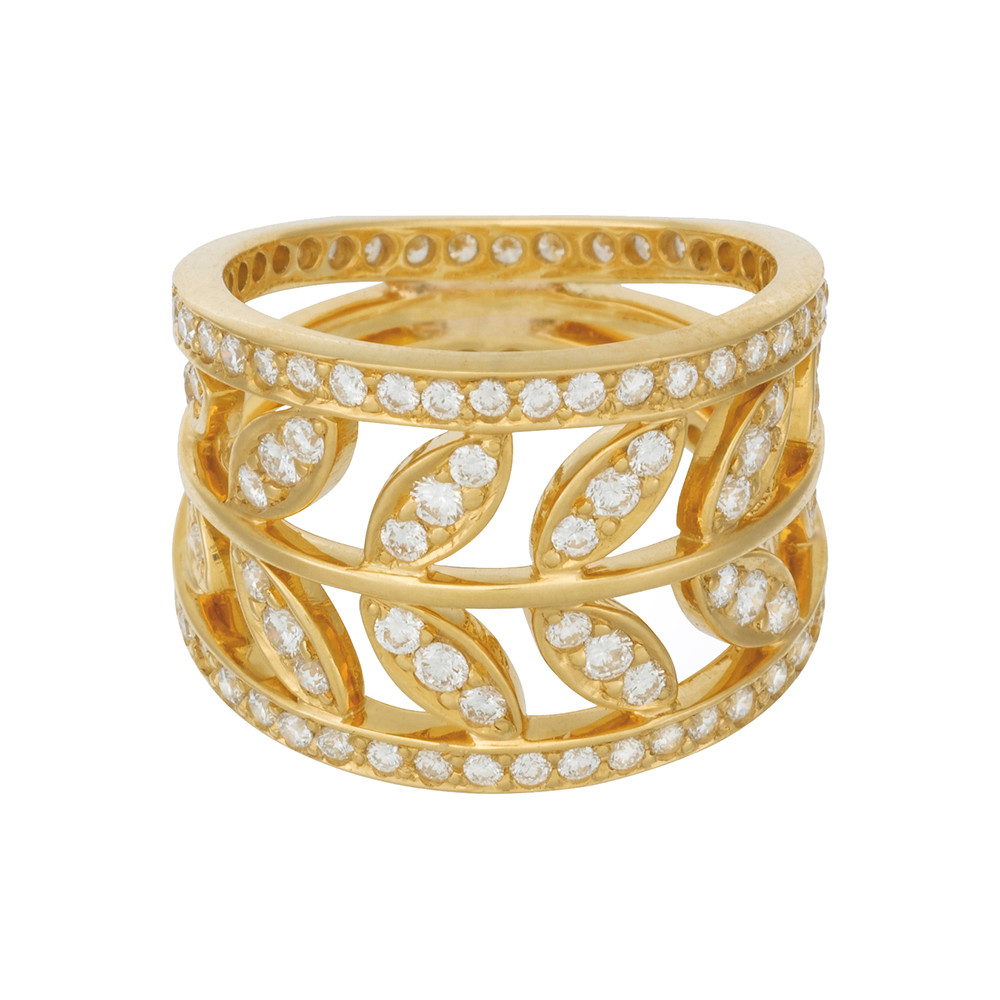 "18k Yellow Gold & Diamond ""Vine"" Ring"
