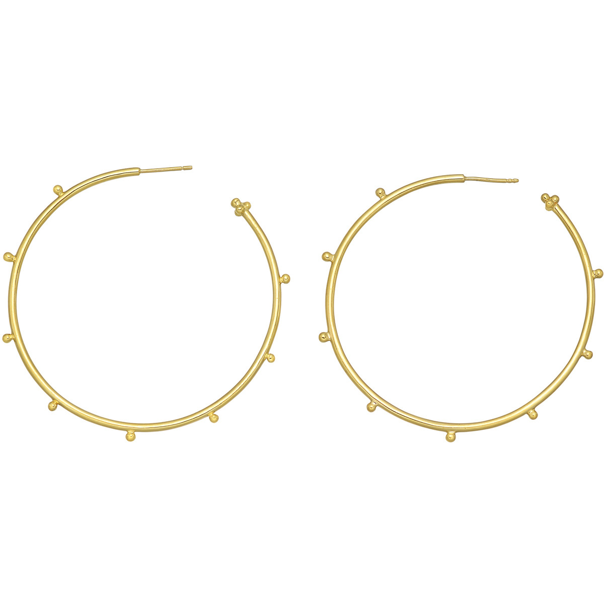 Large 18k Yellow Gold Granulated Hoop Earrings