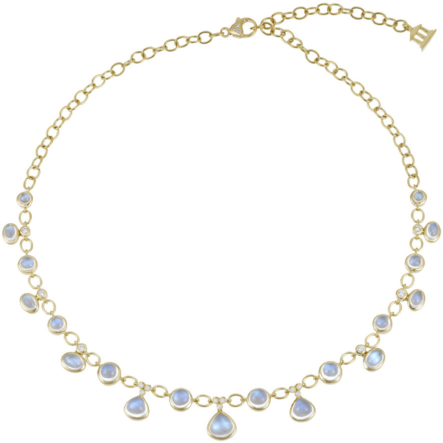 Cabochon Moonstone & Diamond Fringe Necklace