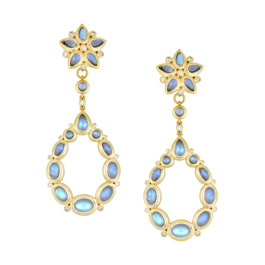 "Moonstone & Diamond ""Eros"" Drop Earrings"