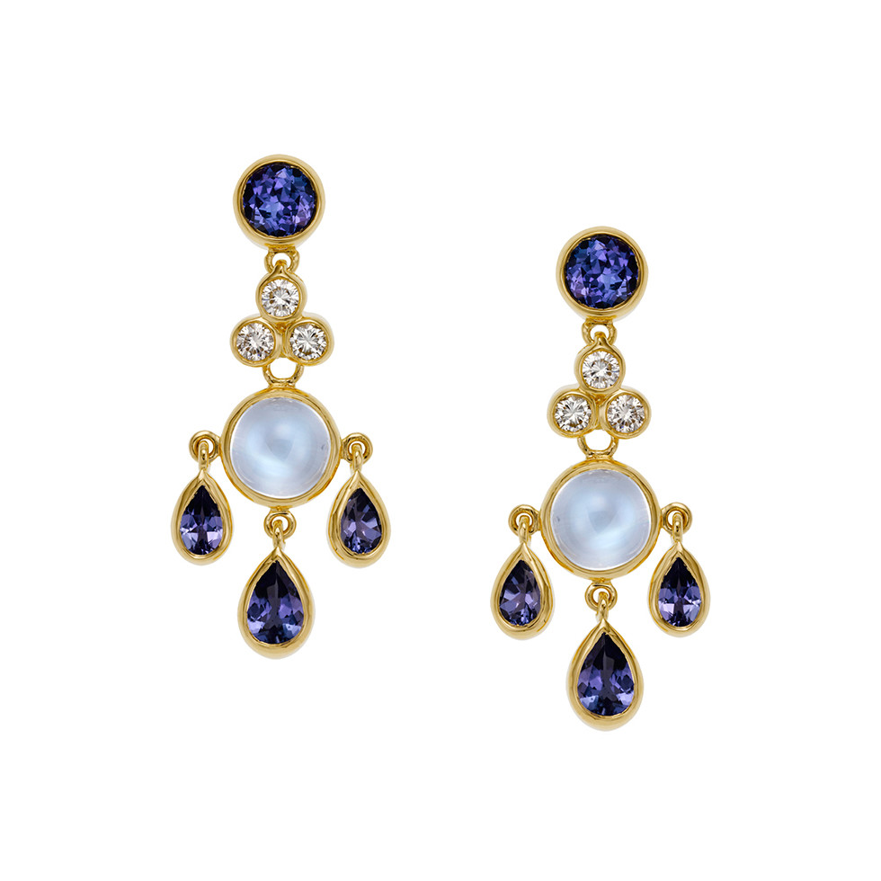 Moonstone & Tanzanite Fringe Drop Earrings