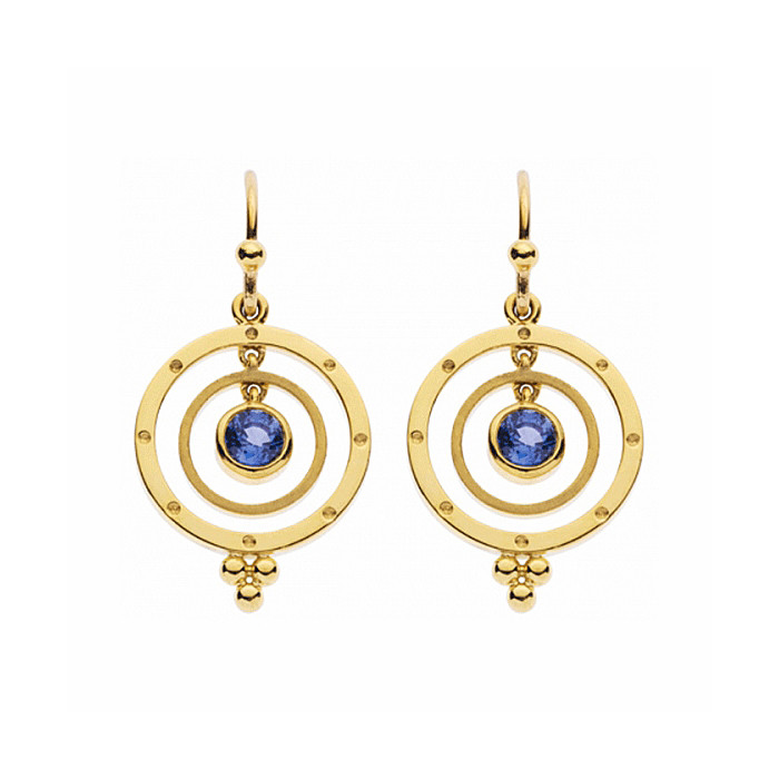 Planet Drop Earrings In 18k Yellow Gold Accented By Round Cut Shire Centers With Temple S Signature Diamond Granulation At The Base