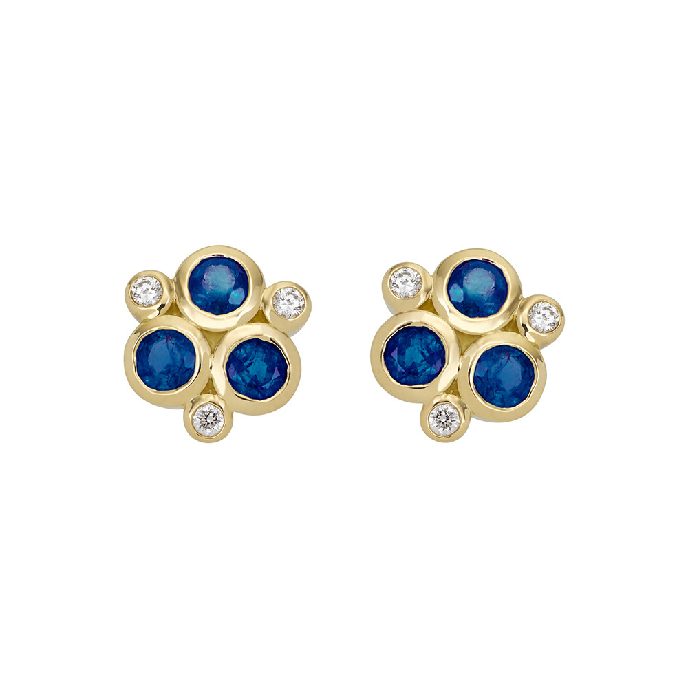 "Sapphire & Diamond ""Trio"" Earrings"