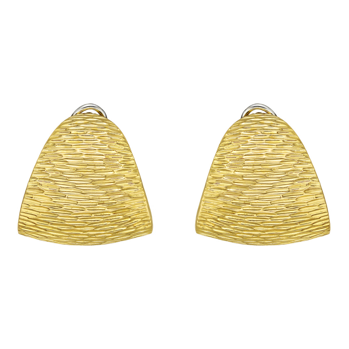 Large 18k Yellow Gold Triangular Earclips