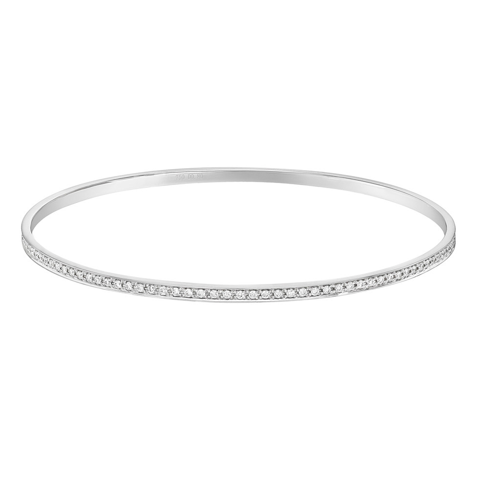 Thin 18k White Gold & Diamond Bangle (~0.8 ct tw)