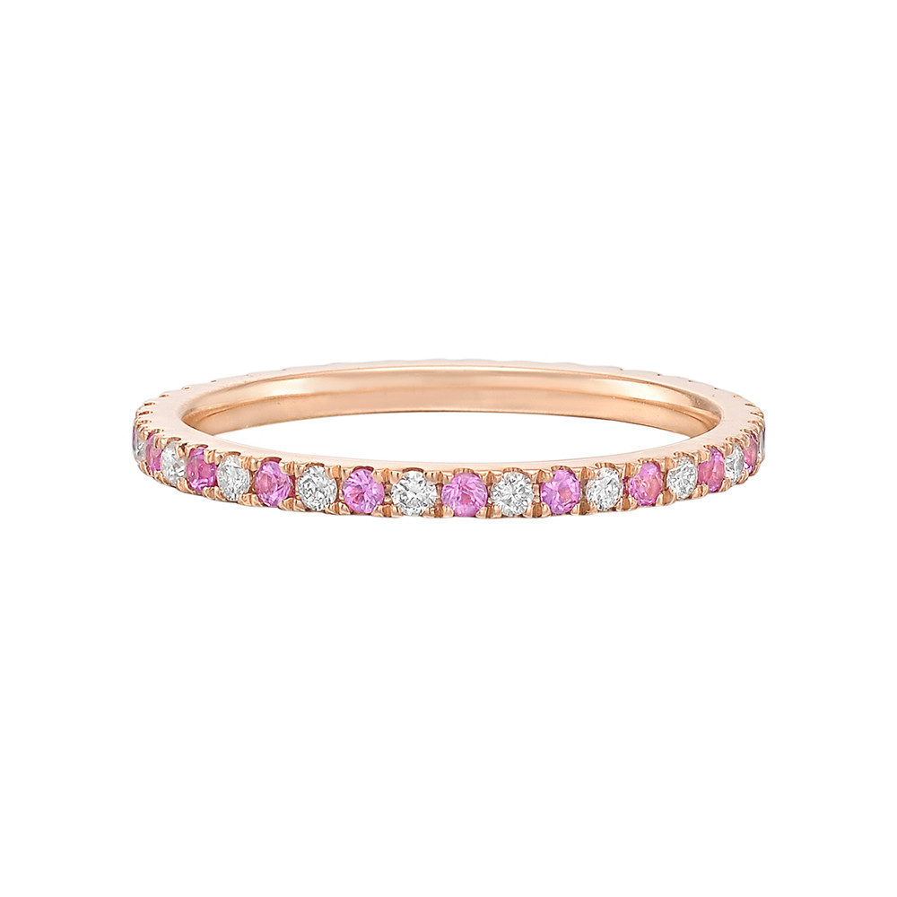 ​​​Thin Pink Sapphire & Diamond Eternity Band